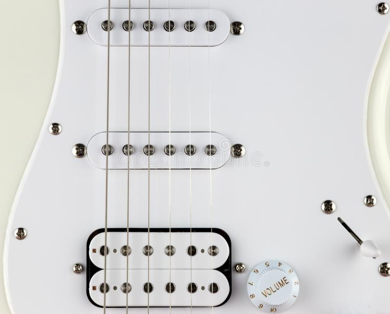 Partial Electric Guitar Body and Pick Ups Close Up royalty free stock images