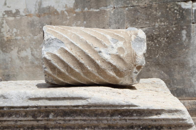 Partial Fracture Of Roman Column On Marble Coffin In Ephesus Stock Images