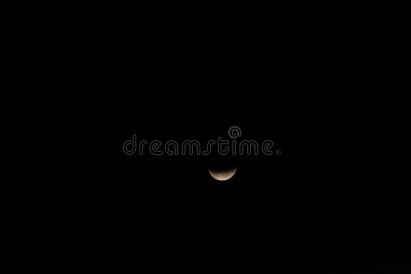 Partial lunar eclipse, Breaza, Romania, 17 July 2019. Partial lunar eclipse, the last lunar eclipse of 2019 seen from Breaza, Romania royalty free stock photos