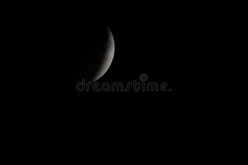 Partial moon lunar eclipse room for copy text stock photography