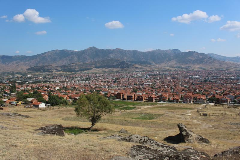 Partial panorama of city Prilep in Macedonia. View from Marko`s tower royalty free stock image