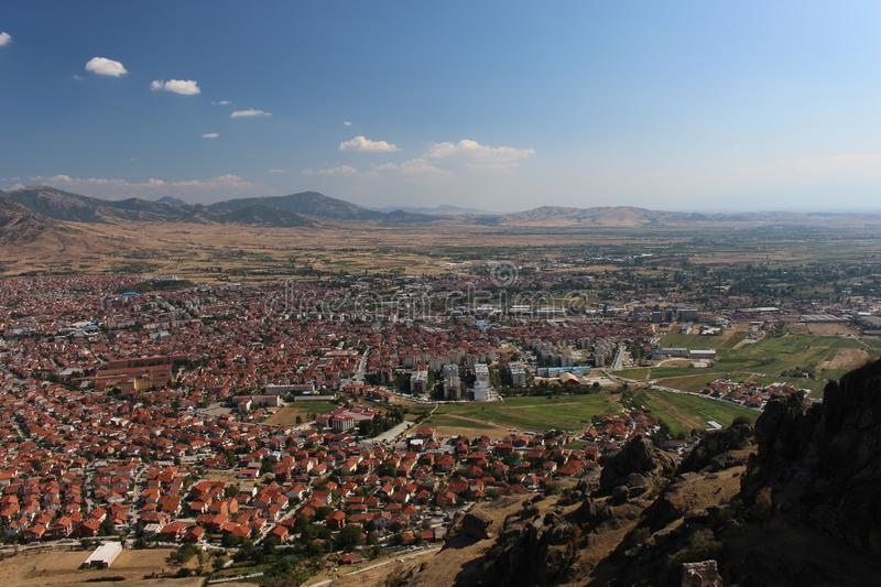 Partial panorama of city Prilep in Macedonia. View from Marko`s tower stock images