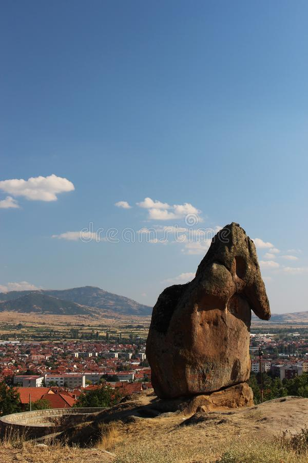 Partial panorama of city Prilep in Macedonia. View from Marko`s tower royalty free stock photography