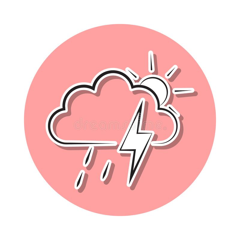 Partial Rain Sign With A Thunder Storm Sticker Icon Simple Thin Line Outline Vector Of Weather Icons For Ui And Ux Website Or Stock Illustration Illustration Of Weather Sunny 176714042