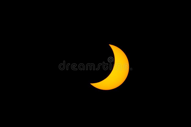 Partial Solar Eclipse From San Diego, California. A 60% partial solar eclipse on August 21, 2017, as seen from San Diego, California royalty free stock photos