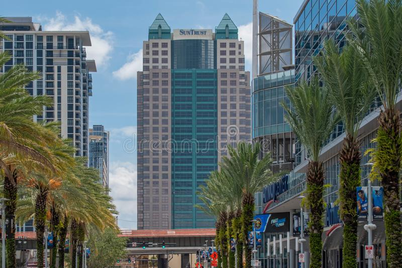 Partial view of Anway Center, I4, and modern buildings at downtown area 96. Orlando, Florida. August 17, 2019. Partial view of Anway Center, I4, and modern stock photography