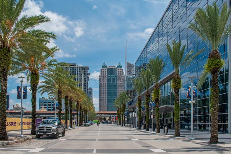 Partial view of Anway Center and palm trees on Church Street at downtown area 97. Orlando, Florida. August 17, 2019. Partial view of Anway Center and palm trees royalty free stock photos