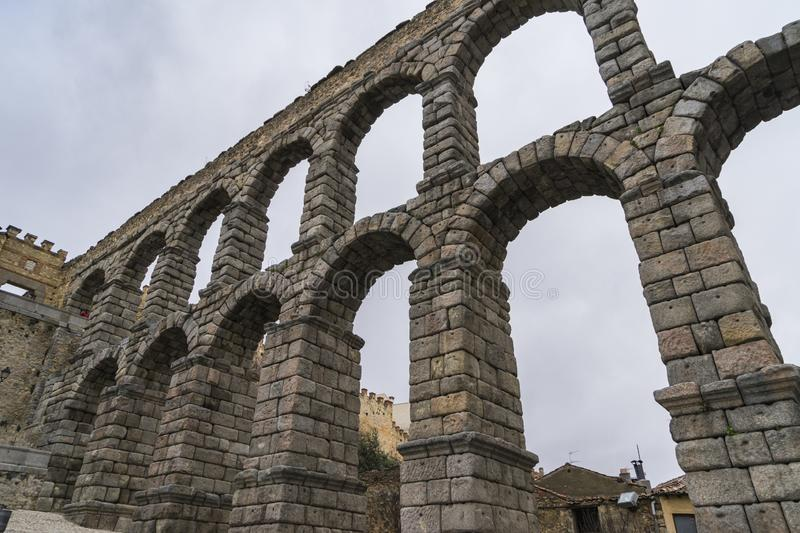 Roman Aqueduct of Segovia, in Spain. stock photography