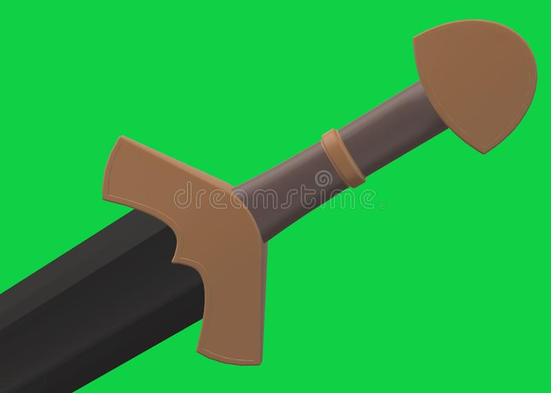 Partial view of the brown hilt of a black bladed sword drawn stock photo