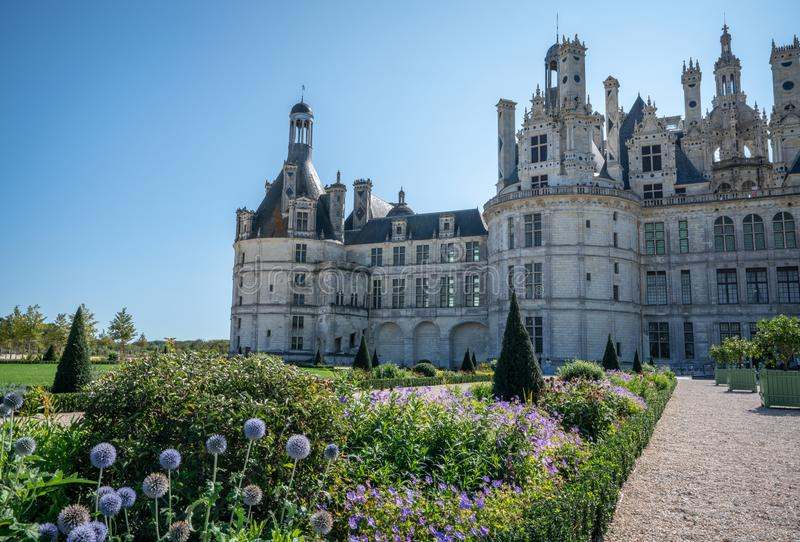 Partial view of Chateau Chambord with Manicured gardens. stock images