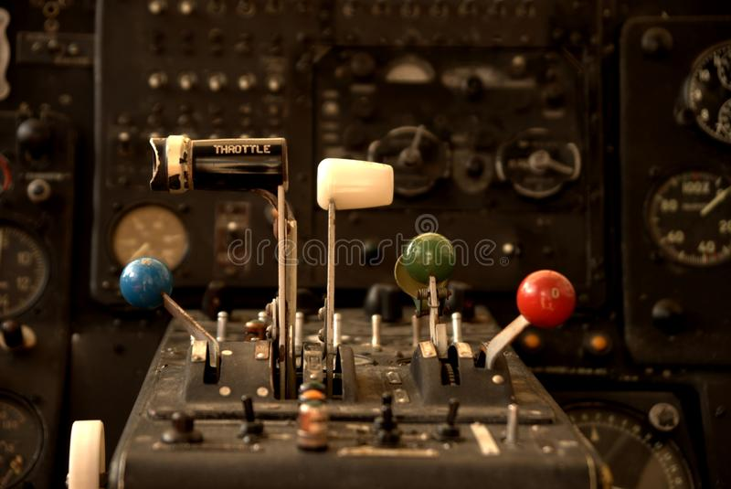 Partial view from the cockpit of an old spraying airplane. royalty free stock image