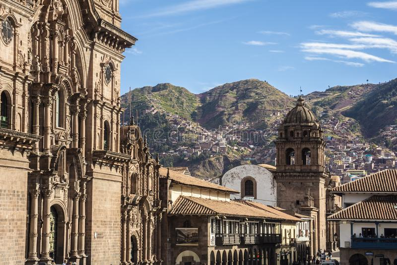 Partial view of The Company of Jesus church and a street in Cusco, Peru, South America stock photo