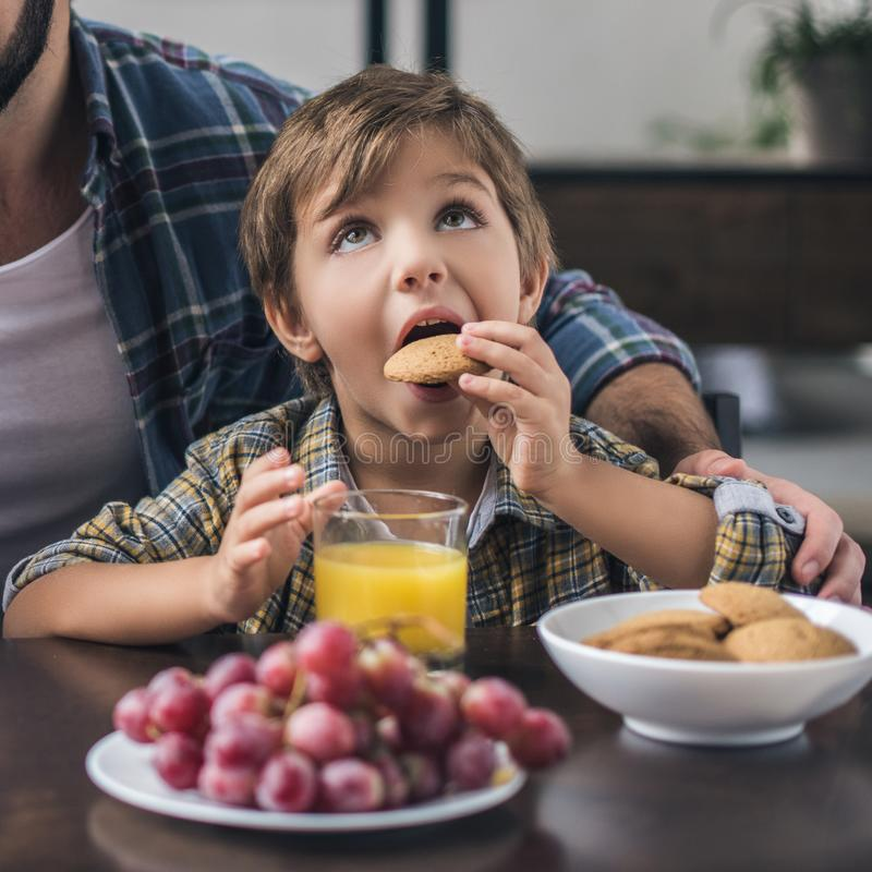 Partial view of cute little boy. Eating cookie with father near by at home royalty free stock photography