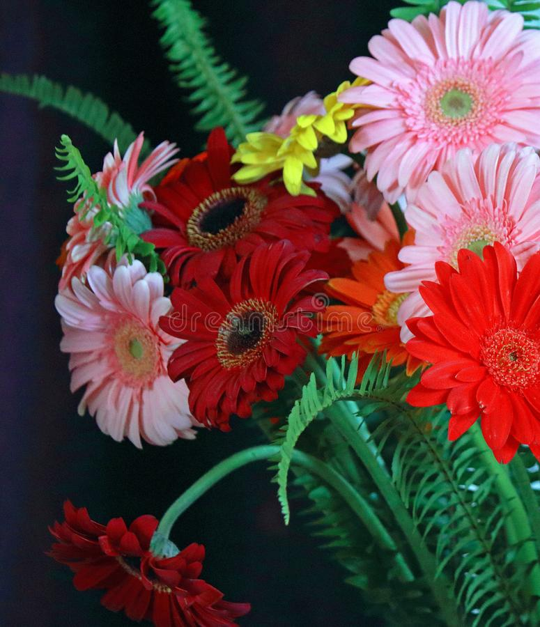 PARTIAL VIEW OF A FLOWER ARRANGEMENT stock photography
