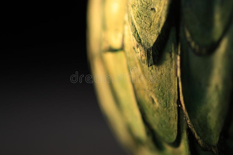 Partial view of green textured sphere on black background stock photos