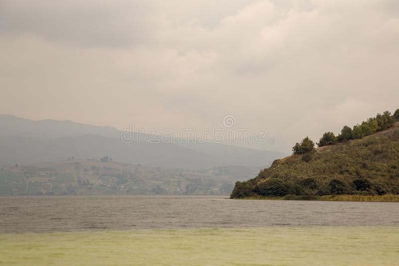 Partial view of the lake Tota. Multiple exposure of a partial view of the lake Tota, the largest natural lake of Colombia, in the central Andean mountains of the stock photos