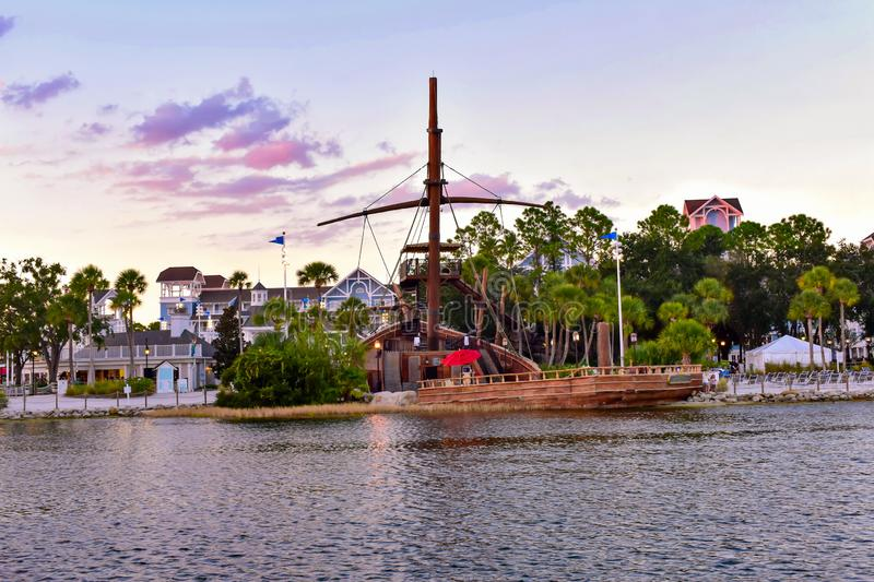 Partial view of Pirate Ship and Village Hotel at Lake Buena Vista area 2 stock image