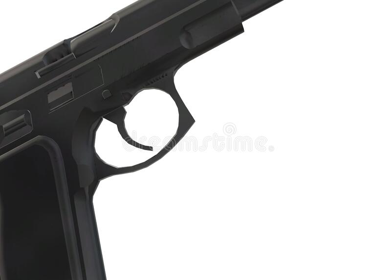 Partial view of a pistol gun focusing on the trigger area stock photos