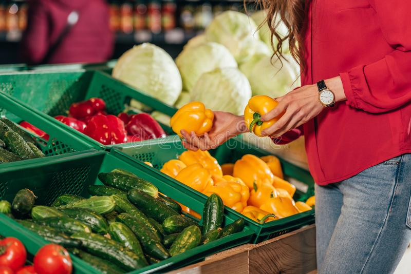 Partial view of shopper choosing fresh raw bell peppers stock photography