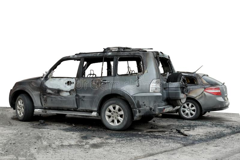 partially burned down car for use in photomontage, the SUV after the fire, isolate royalty free stock photos