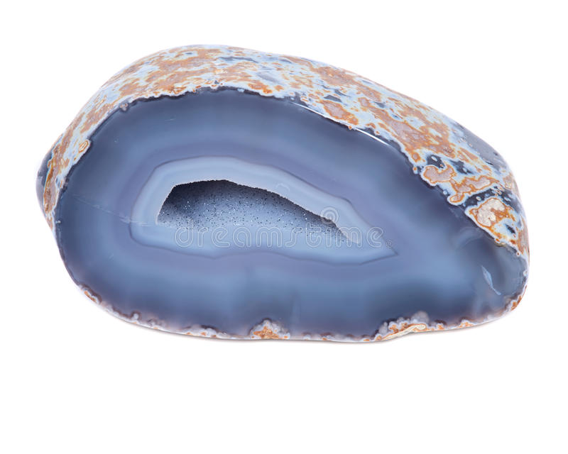 Partially polished blue lace agate geode stock images