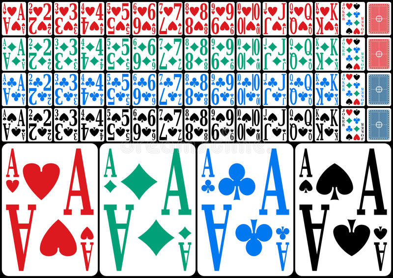 Partially Sighted Full Deck. Colorful full deck of playing cards for partially sighted people, isolated on black background. Eps file available royalty free illustration