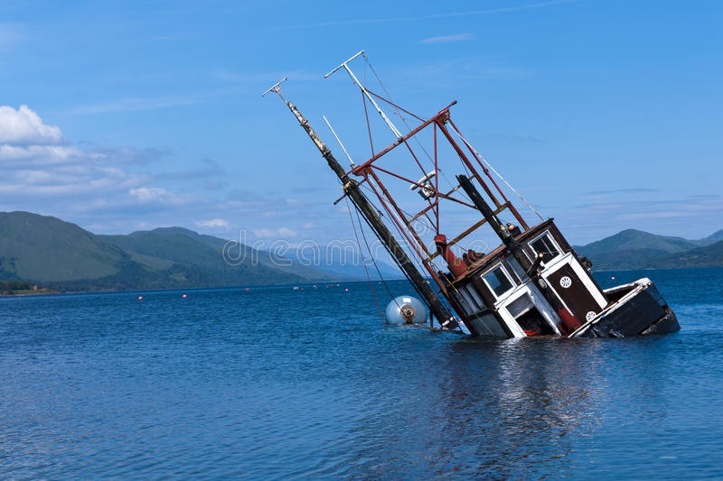 Download Partially Submerged Fishing Vessel In Loch Linnie Stock Photo - Image: 15874536