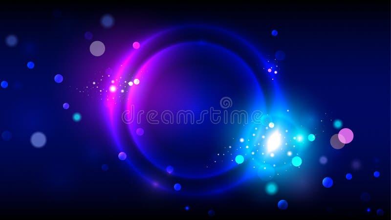 Partibakgrund, glödande cirklar för neon, abstrakt ljus rundaram på mörkt - blå bakgrund med ljusa partiklar, mousserar vektor illustrationer