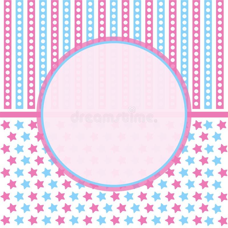 Partibakgrund med gulliga dockor, bakgrund f?r baby showerparti royaltyfri illustrationer