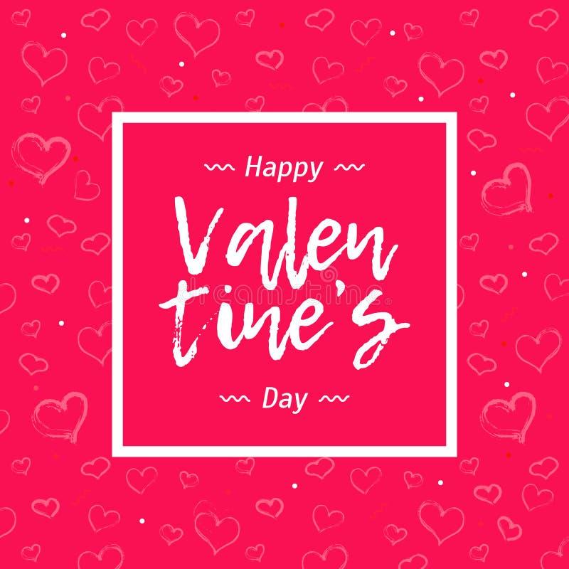 Partibanret med läppstifthjärtagränsen på rosa färger färgar bakgrund För valentin` s för text lycklig dag royaltyfri illustrationer