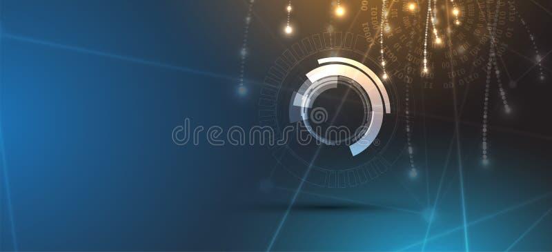 Particella astratta di tecnologia Fondo virtuale della molecola Compu royalty illustrazione gratis