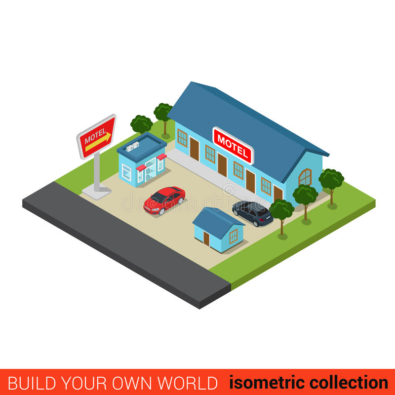 Particella elementare di parcheggio 3d piano di vacanza del motel isometrica illustrazione di stock