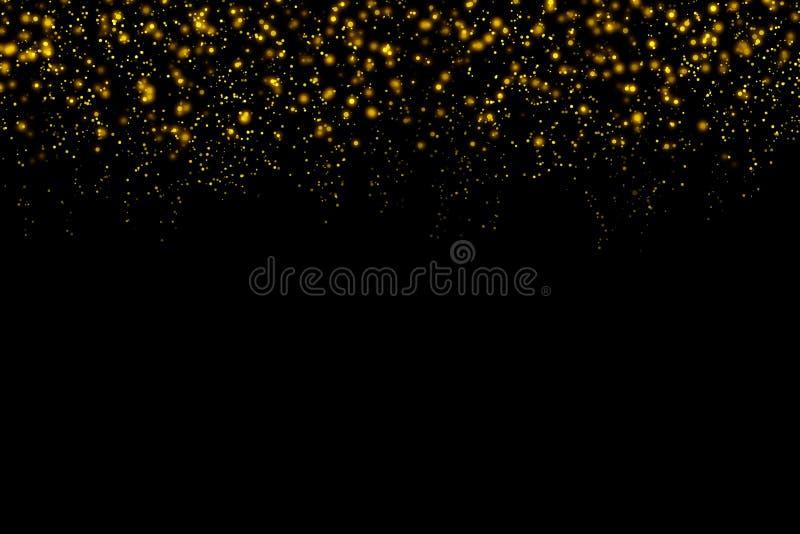 Particelle astratte brillanti del bokeh leggero dell'oro con il fondo scuro di natale illustrazione vettoriale