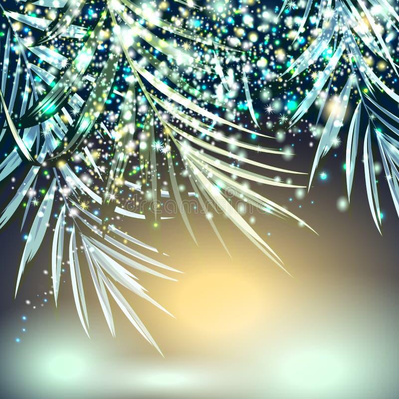 Particelle dorate e d'argento di vettore di scintillio con le foglie di palma illustrazione vettoriale