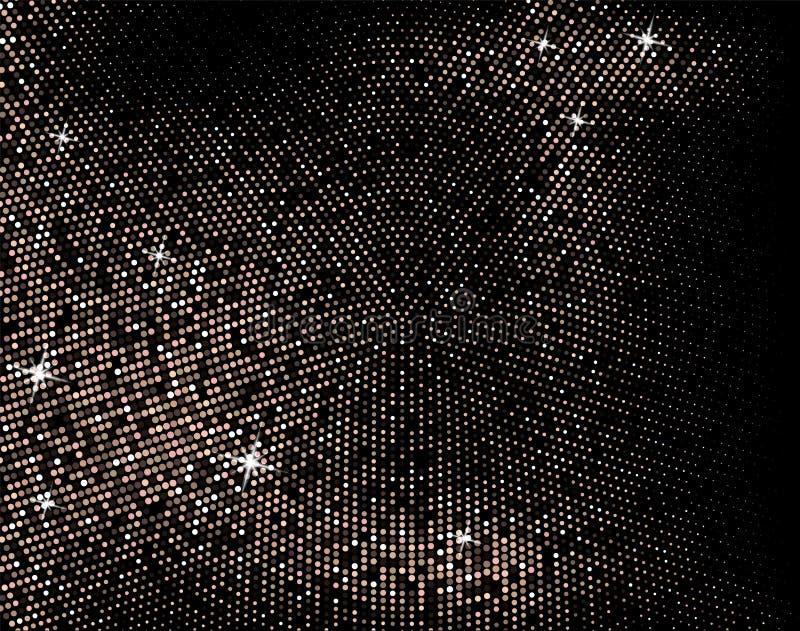 Particelle dorate tremule su un fondo scuro Giacimento detritico di oro Effetto di semitono Backgroun festivo del lusso del nuovo royalty illustrazione gratis
