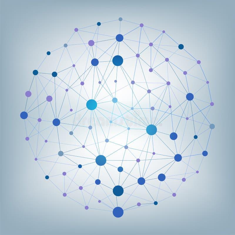 Particelle e linee astratte di vettore Effetto del plesso Illustrazione futuristica di vettore illustrazione vettoriale