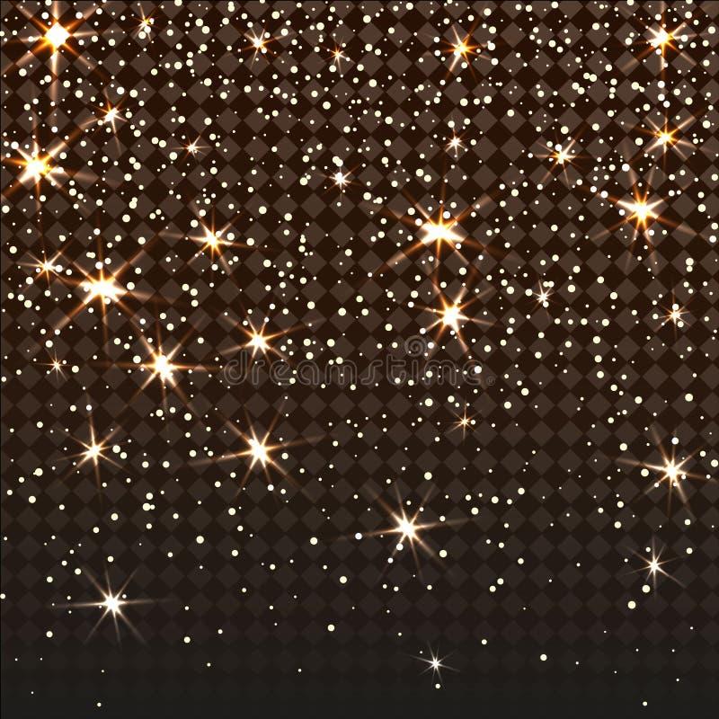 Particelle e stelle di caduta di scintillio Struttura scintillante isolata su un fondo a quadretti trasparente royalty illustrazione gratis