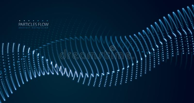 Particelle scorrenti di energia, onda delle luci vaghe Vago intorno all'illustrazione di effetto di vettore delle luci illustrazione vettoriale