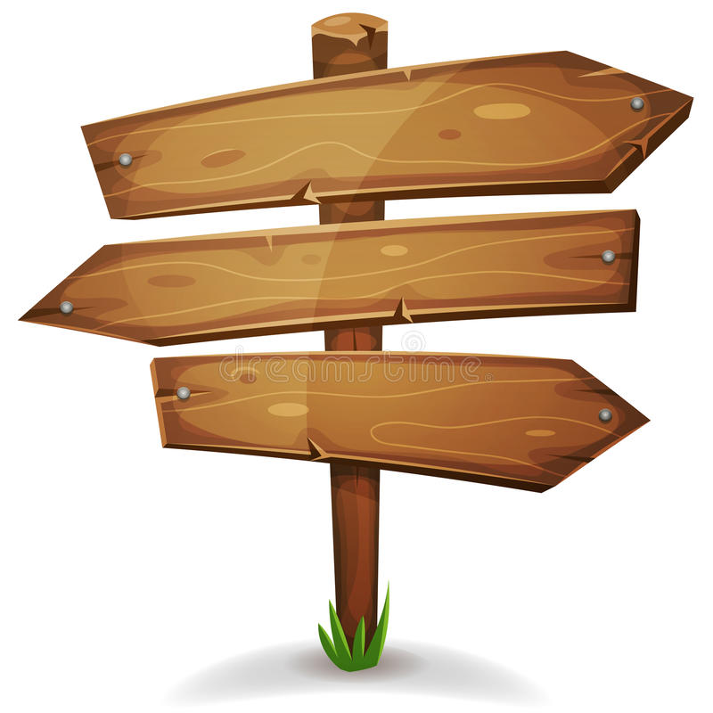 Participación de madera con las flechas de las señales de dirección stock de ilustración