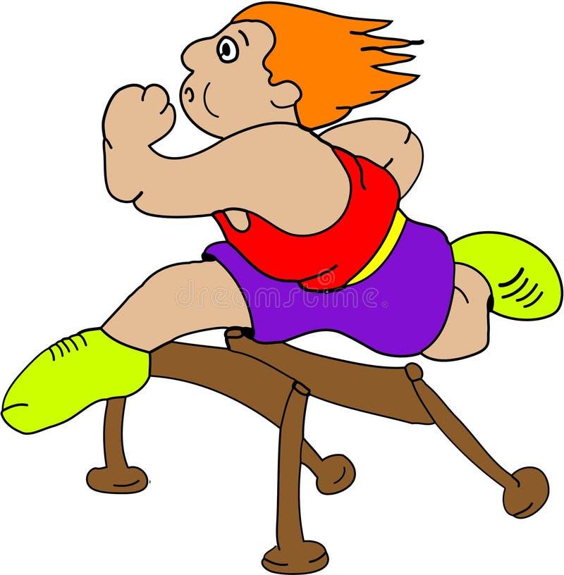 Participant à une course d'obstacles illustration de vecteur