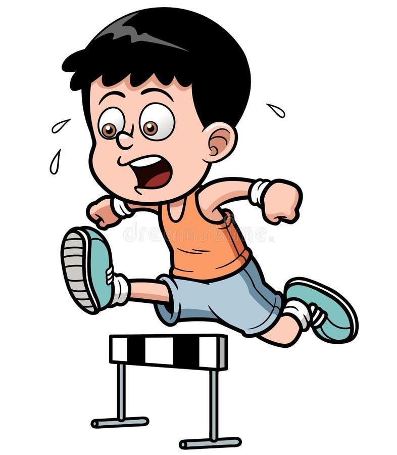 Participant à une course d'obstacles de garçon illustration stock