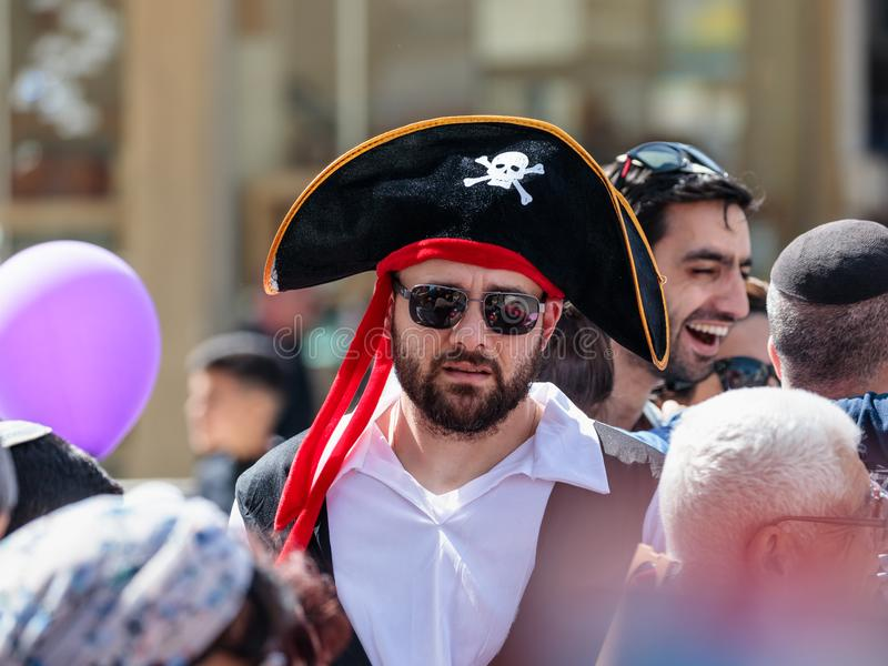 The participant of the annual carnival of Adloyada dressed as a pirate in Nahariyya, Israel stock photos