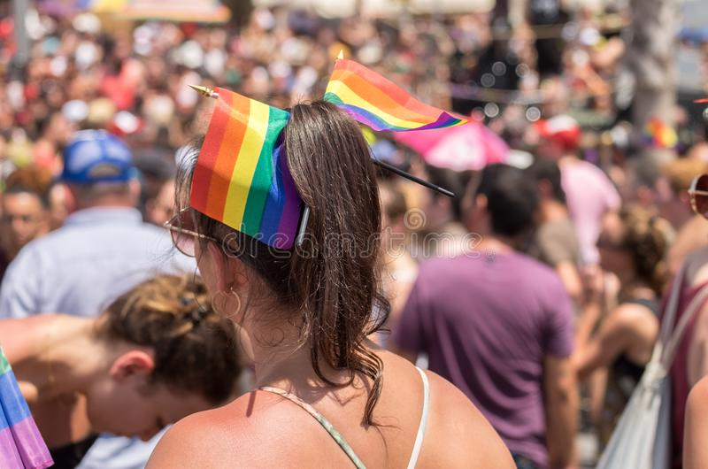 Participant of annual gay pride parade & festival in Tel-Aviv royalty free stock photography