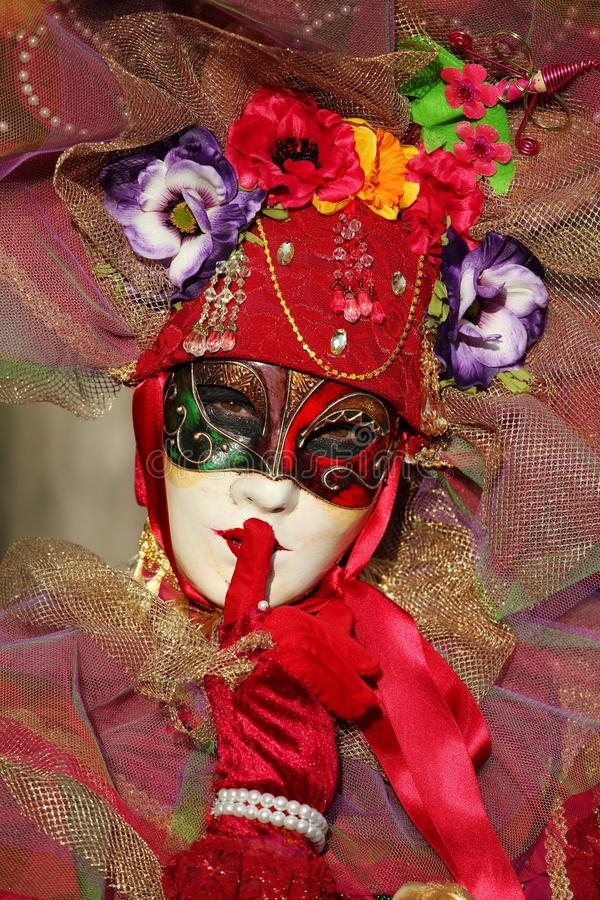 Participant at the annual venitian carnival of Annecy, royalty free stock images