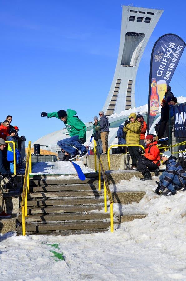 Participant au snowboarding image libre de droits