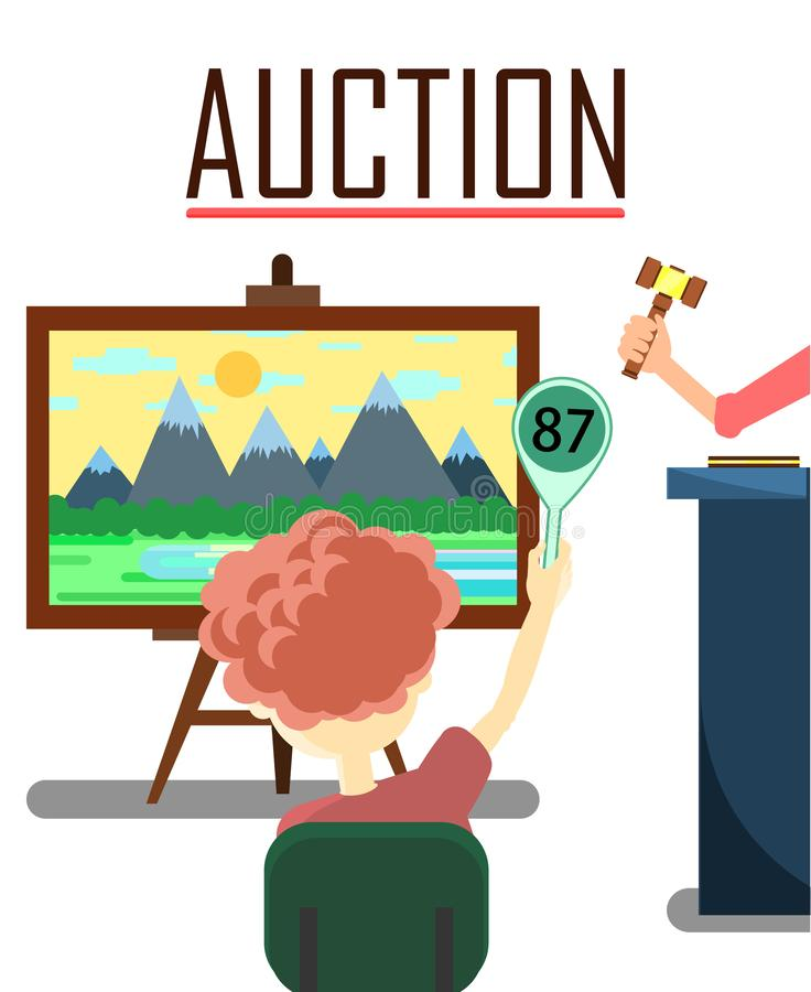 Participant of Auction Buying Landscape Painting. Selling Landscape Painting Lot on Auction Poster Vector Illustration. Shopping with Potential Buyers Making stock illustration