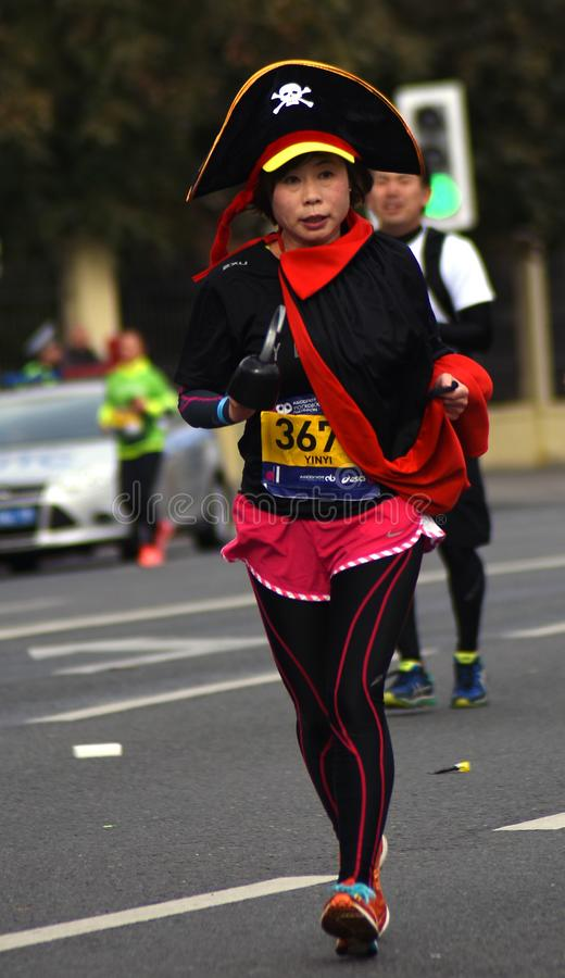 Participant de marathon de 6 Moscou images libres de droits