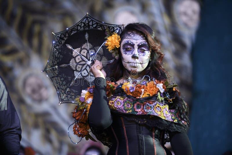 Participant during dia de Muertos. Participant in dia de Muertos, Hollywood Forever Cemetery stock photos