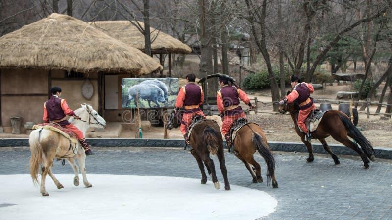 Participant a the Equestrian Feats act, South Korea. Seoul, South Korea - January 28, 2016: Participant a the Equestrian Feats act, a short acrobatic horseback stock photos