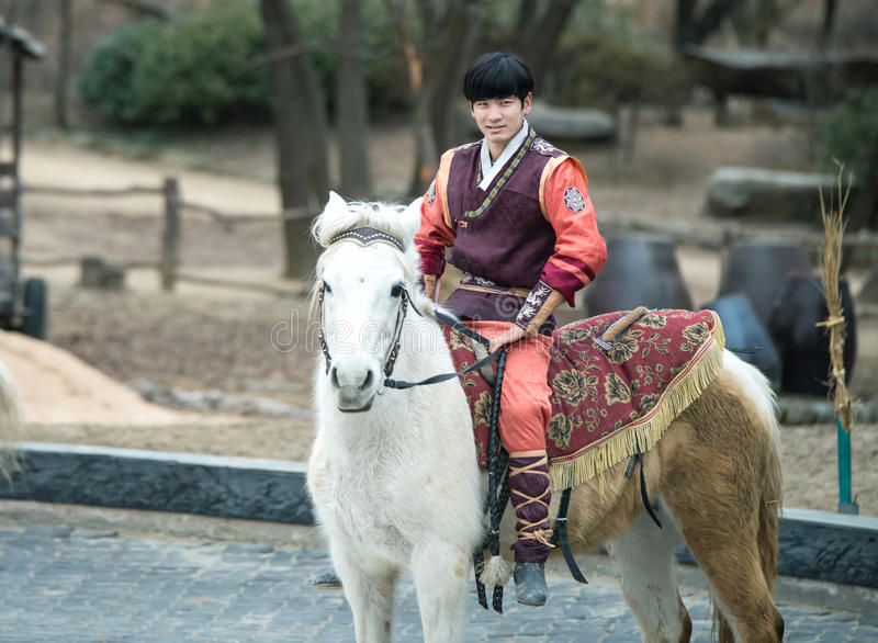 Participant a the Equestrian Feats act, South Korea. Seoul, South Korea - January 28, 2016: Participant a the Equestrian Feats act, a short acrobatic horseback stock photography
